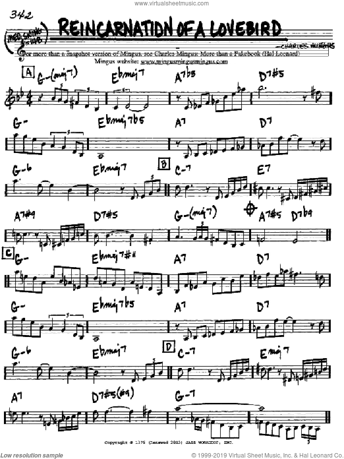 Reincarnation Of A Lovebird sheet music for voice and other instruments (C) by Charles Mingus, intermediate. Score Image Preview.