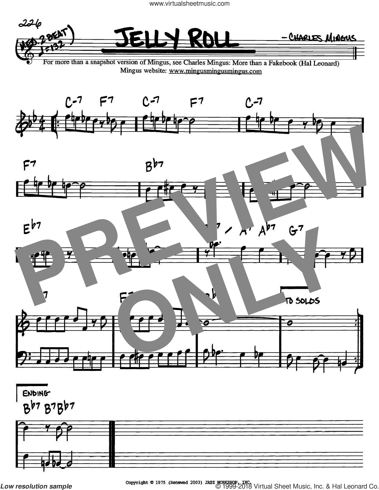 Jelly Roll sheet music for voice and other instruments (Bb) by Charles Mingus, intermediate voice. Score Image Preview.
