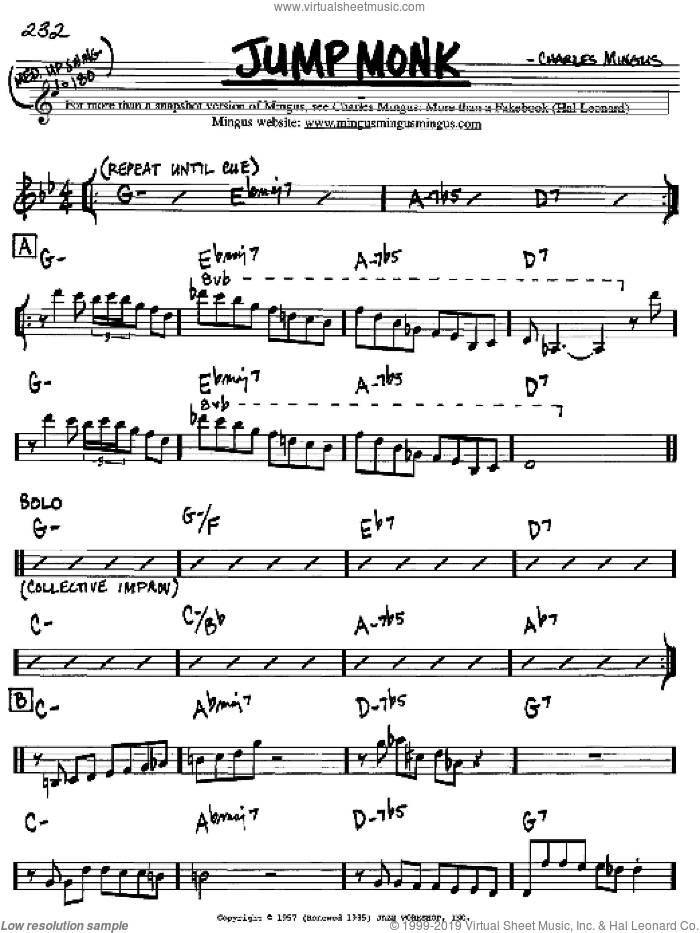 Jump Monk sheet music for voice and other instruments (Bb) by Charles Mingus. Score Image Preview.