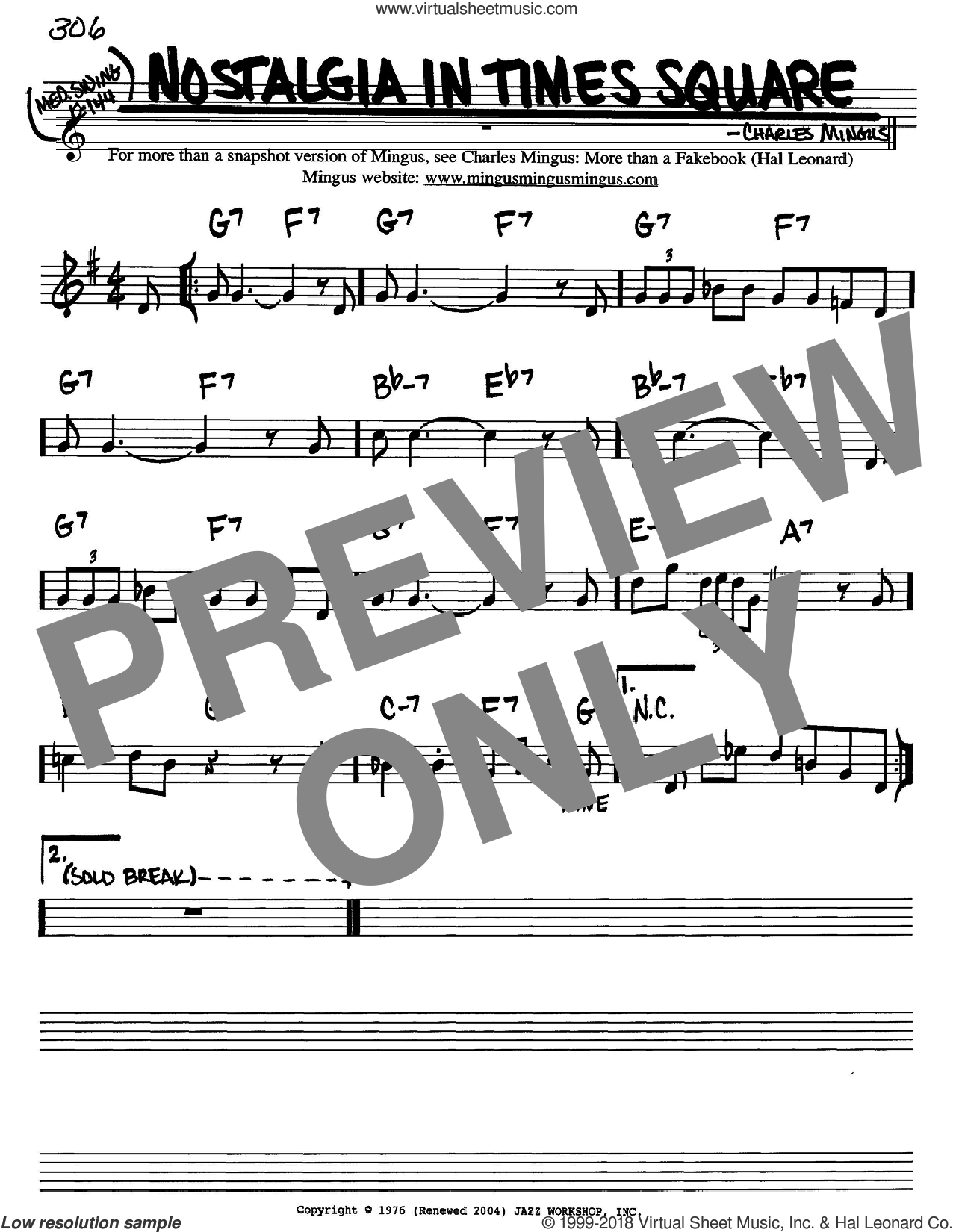 Nostalgia In Times Square sheet music for voice and other instruments (in Bb) by Charles Mingus, intermediate skill level