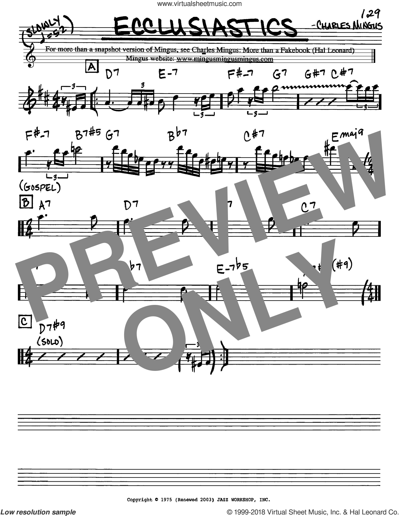 Ecclusiastics sheet music for voice and other instruments (Eb) by Charles Mingus. Score Image Preview.