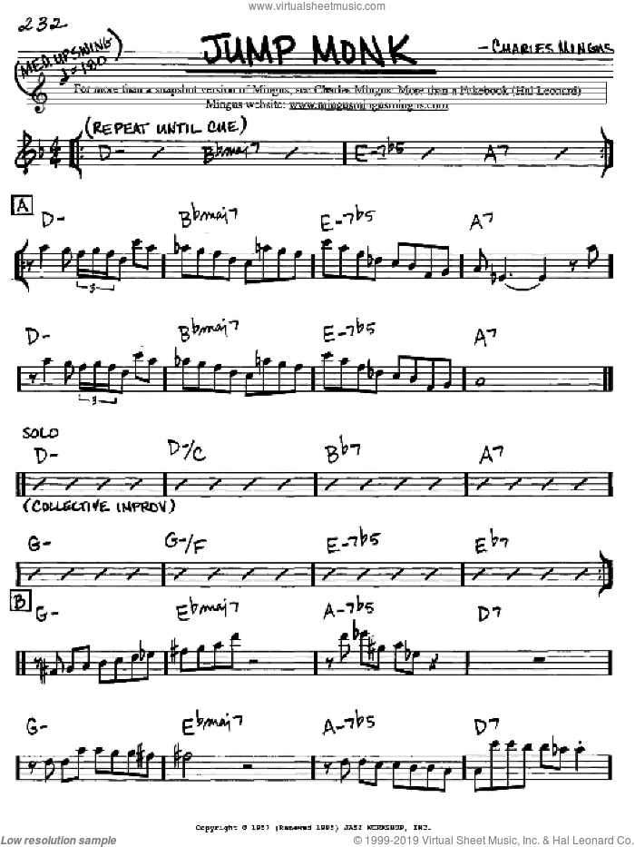 Jump Monk sheet music for voice and other instruments (Eb) by Charles Mingus. Score Image Preview.