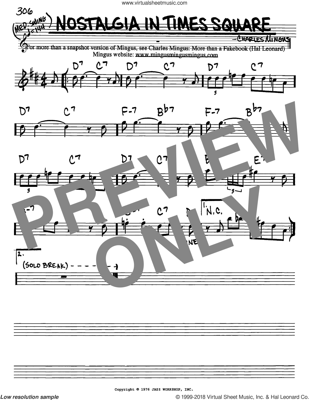 Nostalgia In Times Square sheet music for voice and other instruments (in Eb) by Charles Mingus, intermediate skill level