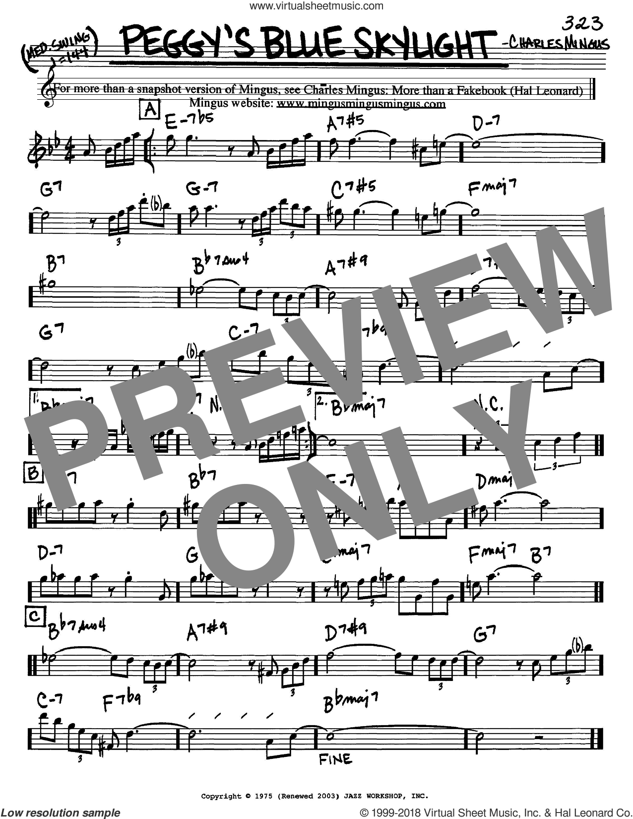 Peggy's Blue Skylight sheet music for voice and other instruments (Eb) by Charles Mingus. Score Image Preview.