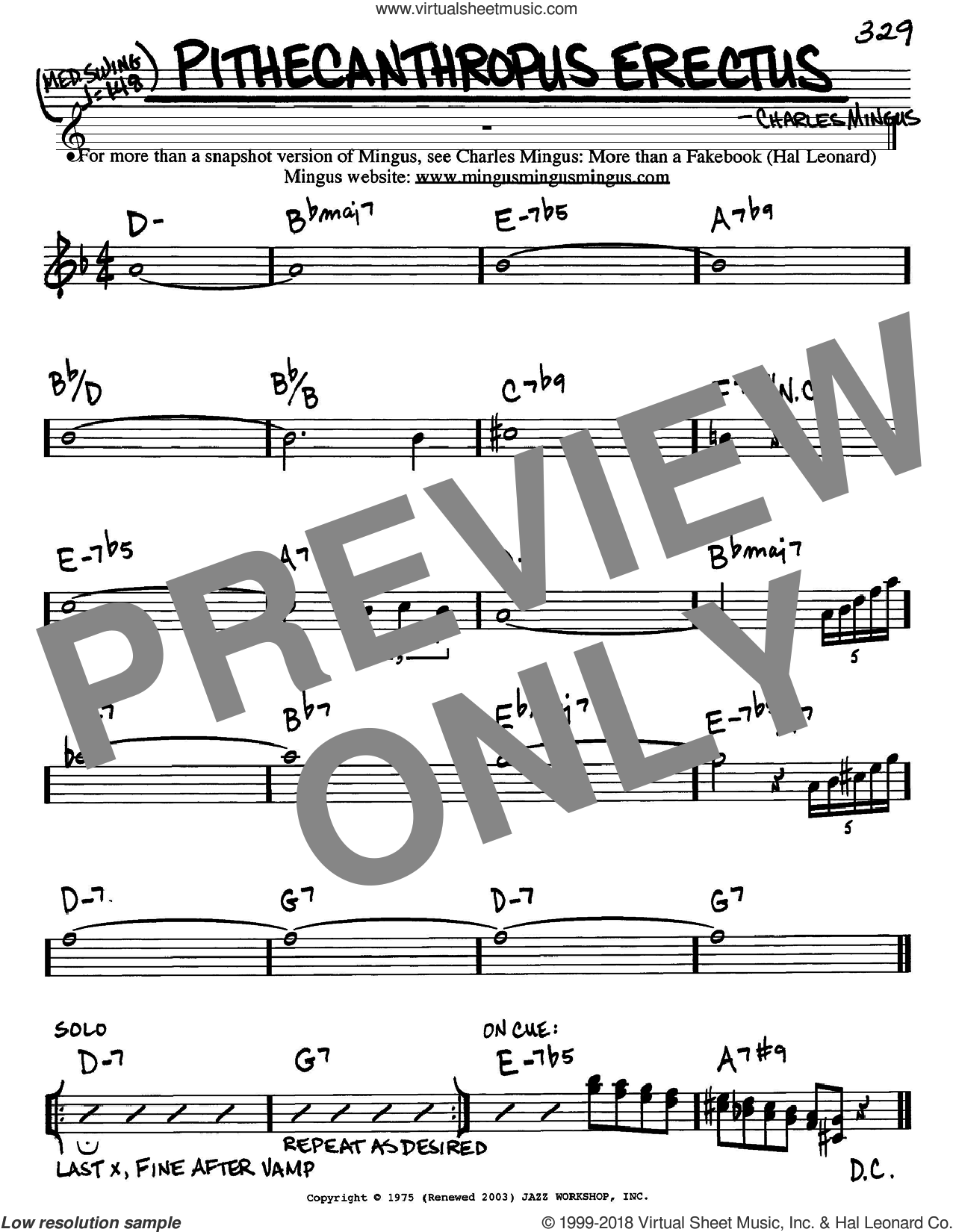 Pithecanthropus Erectus sheet music for voice and other instruments (Eb) by Charles Mingus, intermediate voice. Score Image Preview.