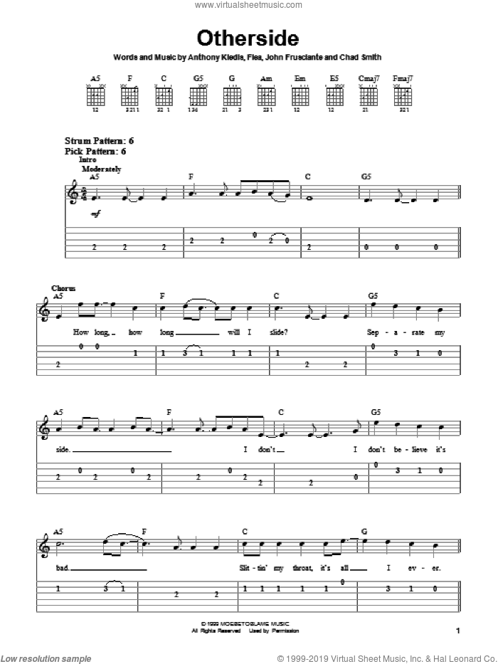 Otherside, (easy) sheet music for guitar solo (easy tablature) by Red Hot Chili Peppers, Anthony Kiedis, Flea and John Frusciante, easy guitar (easy tablature). Score Image Preview.
