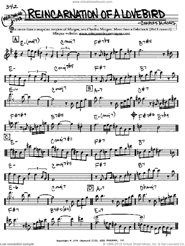 Reincarnation Of A Lovebird sheet music for voice and other instruments (Eb) by Charles Mingus. Score Image Preview.
