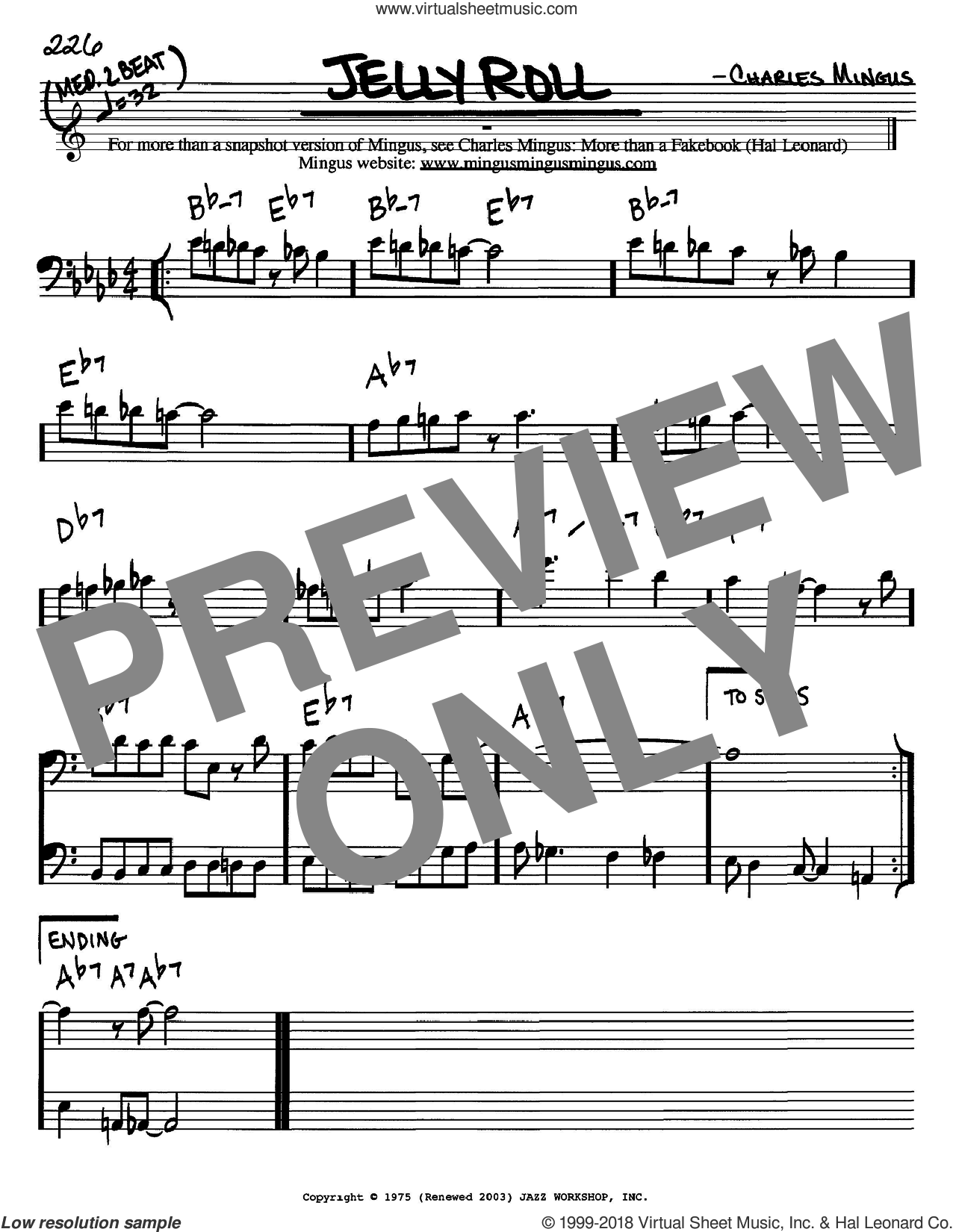 Jelly Roll sheet music for voice and other instruments (bass clef) by Charles Mingus, intermediate skill level