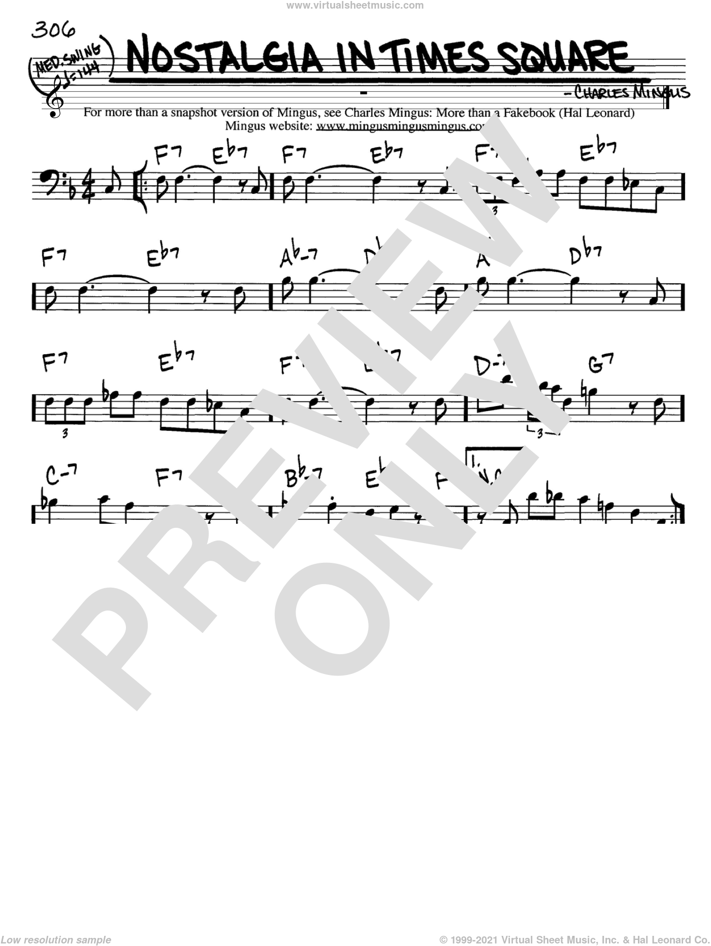 Nostalgia In Times Square sheet music for voice and other instruments (Bass Clef ) by Charles Mingus. Score Image Preview.