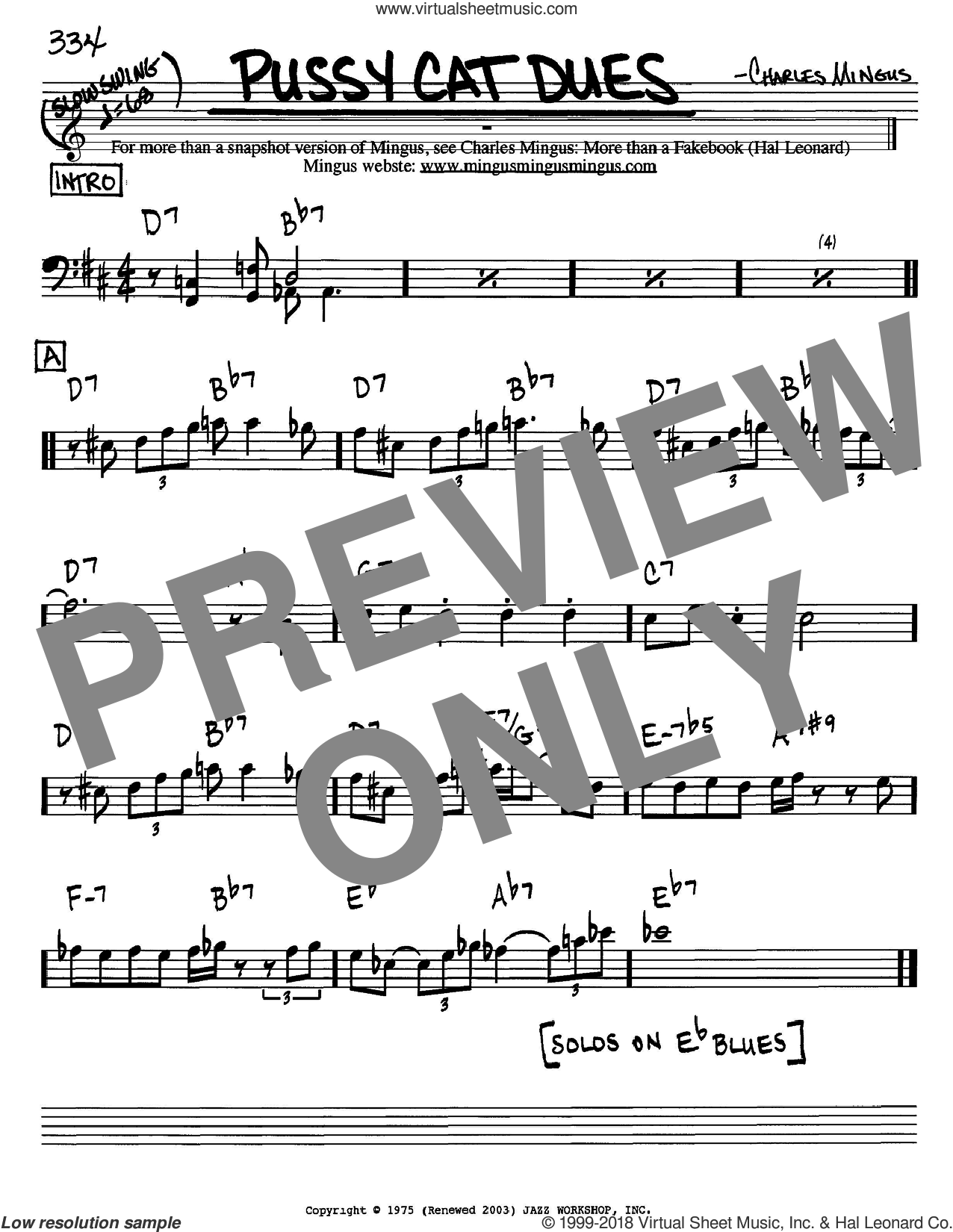 Pussy Cat Dues sheet music for voice and other instruments (Bass Clef ) by Charles Mingus. Score Image Preview.