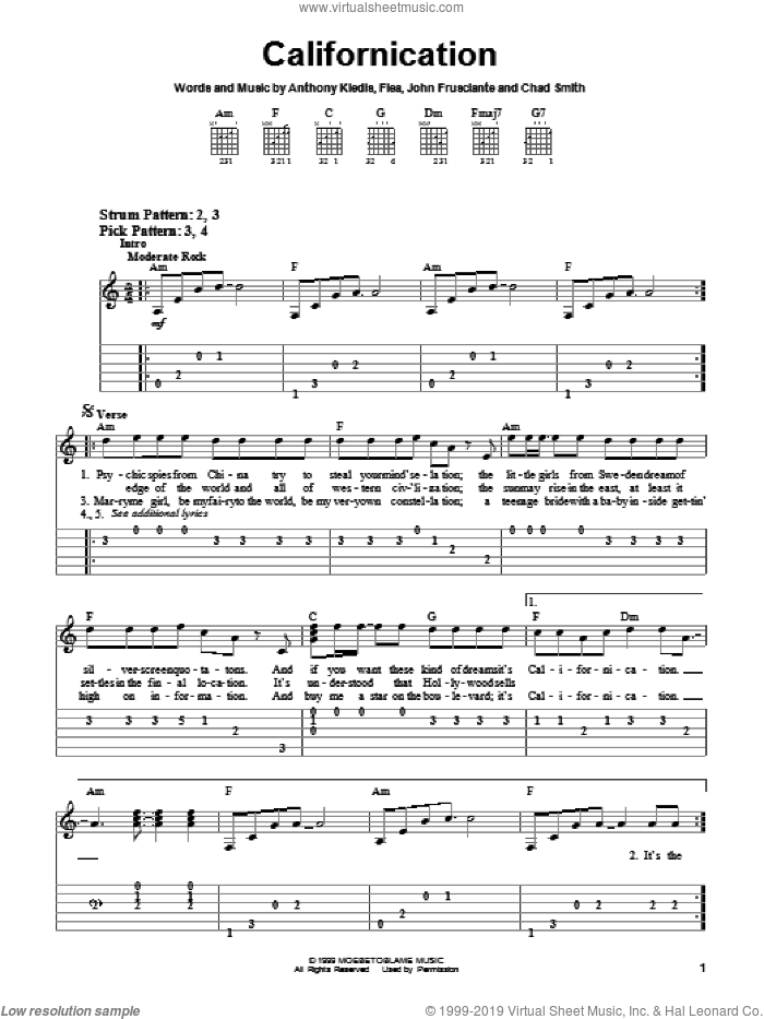 Californication, (easy) sheet music for guitar solo (easy tablature) by Red Hot Chili Peppers, Anthony Kiedis, Flea and John Frusciante, easy guitar (easy tablature)