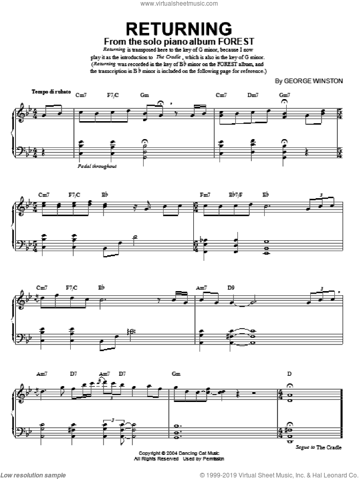 Returning sheet music for piano solo by George Winston, intermediate skill level