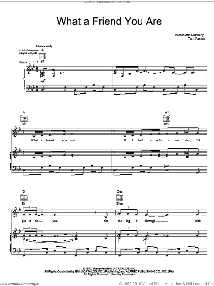 What A Friend You Are sheet music for voice, piano or guitar by Tom Paxton, intermediate