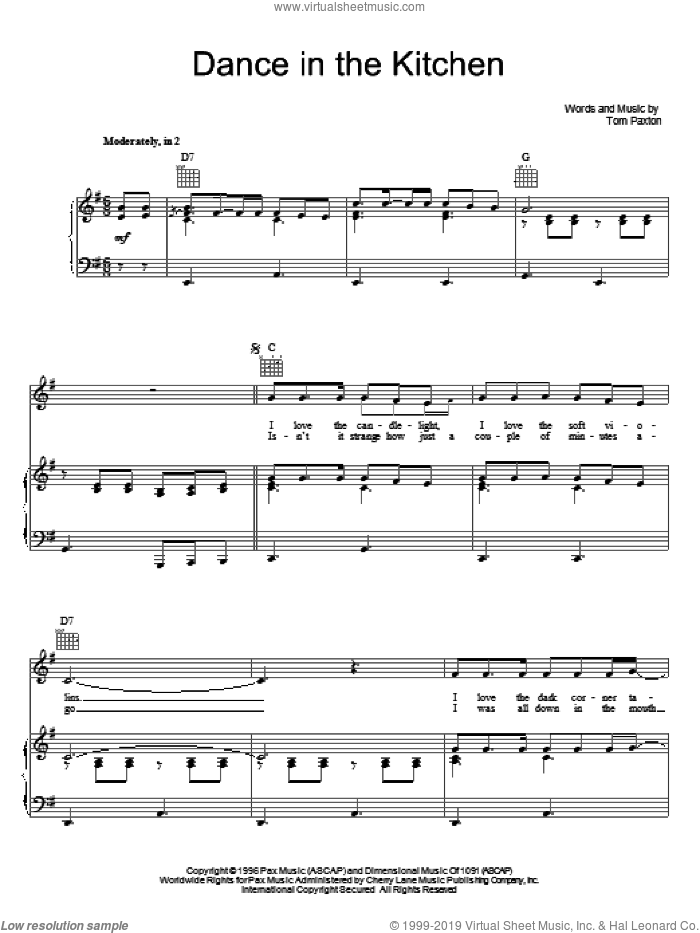 Dance In The Kitchen sheet music for voice, piano or guitar by Tom Paxton. Score Image Preview.