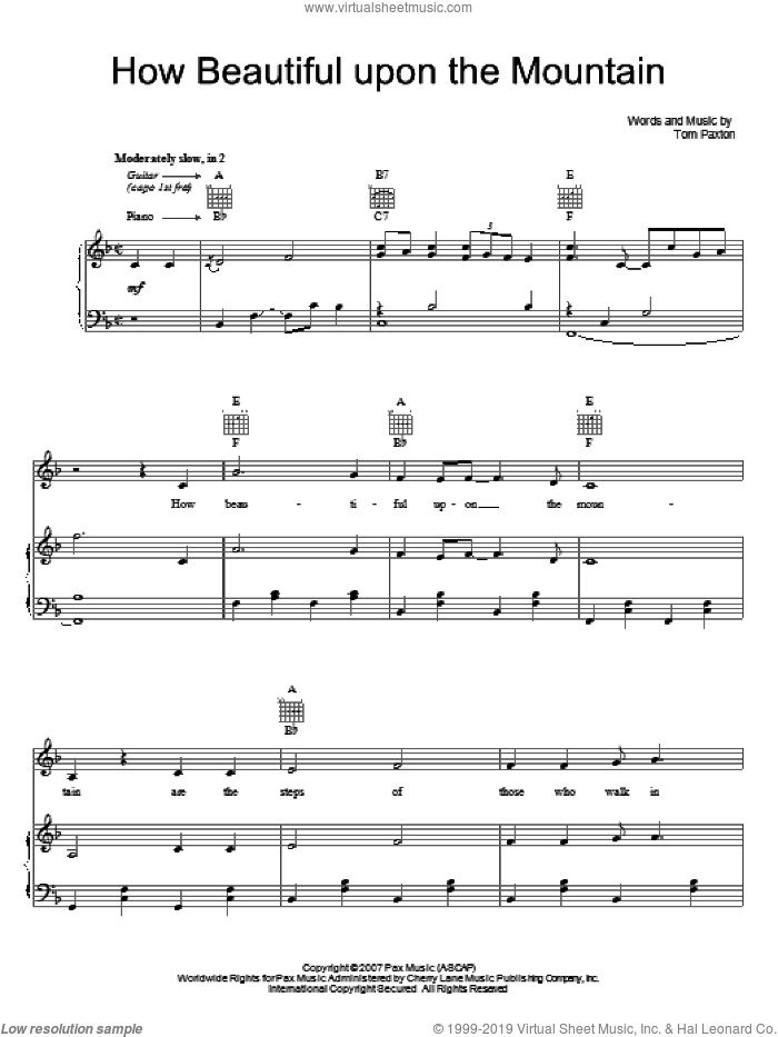 How Beautiful Upon The Mountain sheet music for voice, piano or guitar by Tom Paxton, intermediate voice, piano or guitar. Score Image Preview.