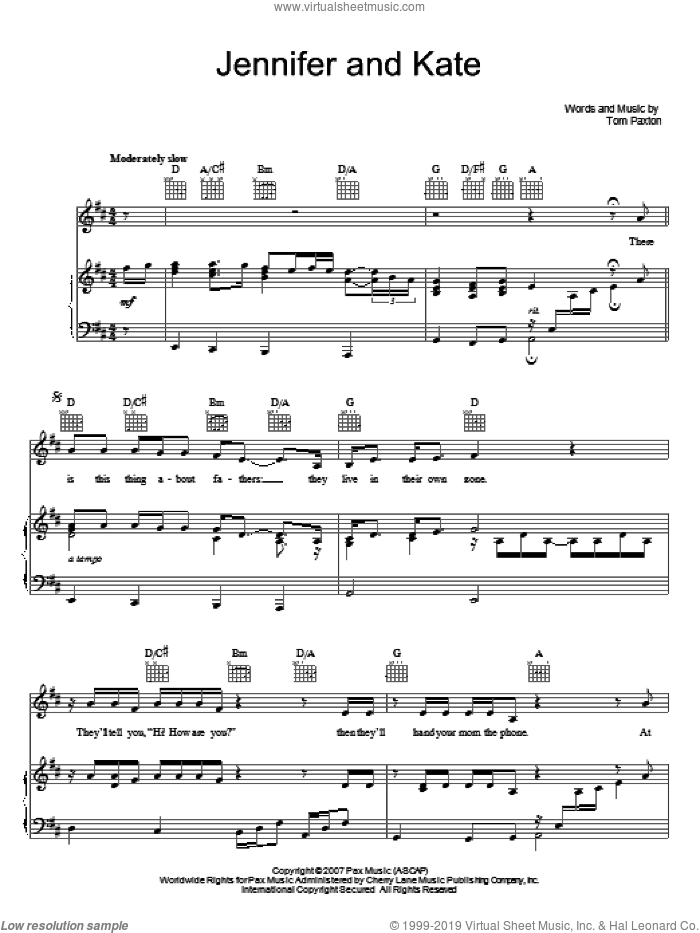 Jennifer And Kate sheet music for voice, piano or guitar by Tom Paxton, intermediate. Score Image Preview.