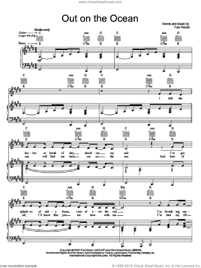 Out On The Ocean sheet music for voice, piano or guitar by Tom Paxton. Score Image Preview.