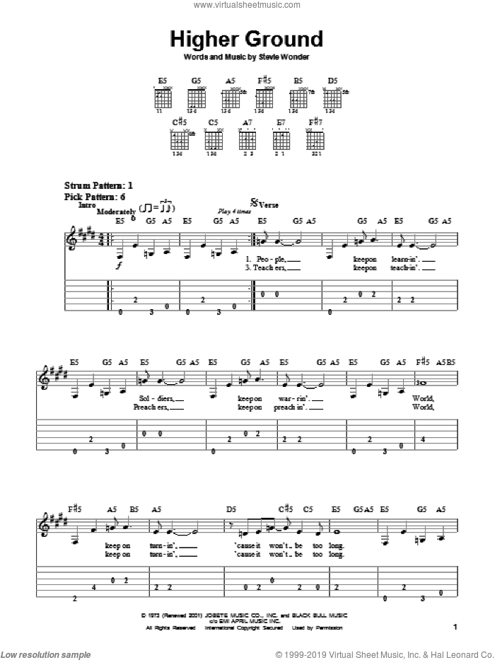 Higher Ground sheet music for guitar solo (easy tablature) by Red Hot Chili Peppers and Stevie Wonder, easy guitar (easy tablature). Score Image Preview.