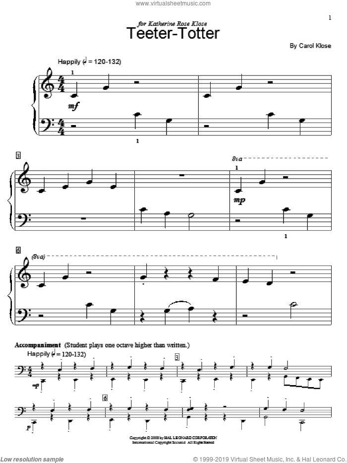 Teeter-Totter sheet music for piano solo (elementary) by Carol Klose and Miscellaneous, beginner piano (elementary)