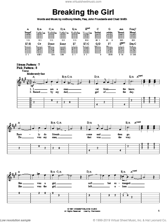 Breaking The Girl sheet music for guitar solo (easy tablature) by John Frusciante