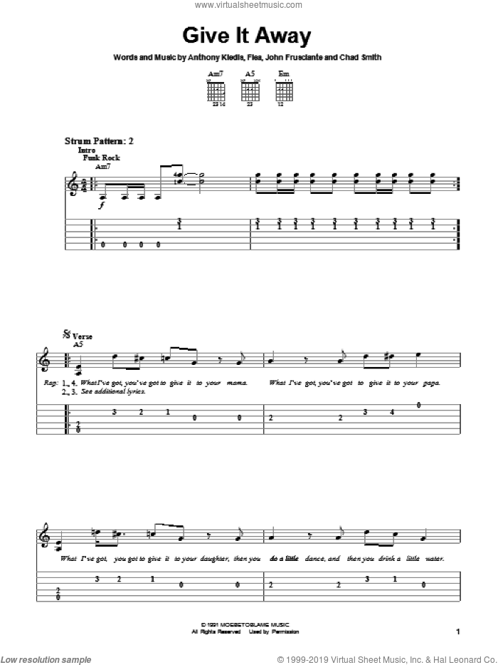 Give It Away sheet music for guitar solo (easy tablature) by Red Hot Chili Peppers. Score Image Preview.