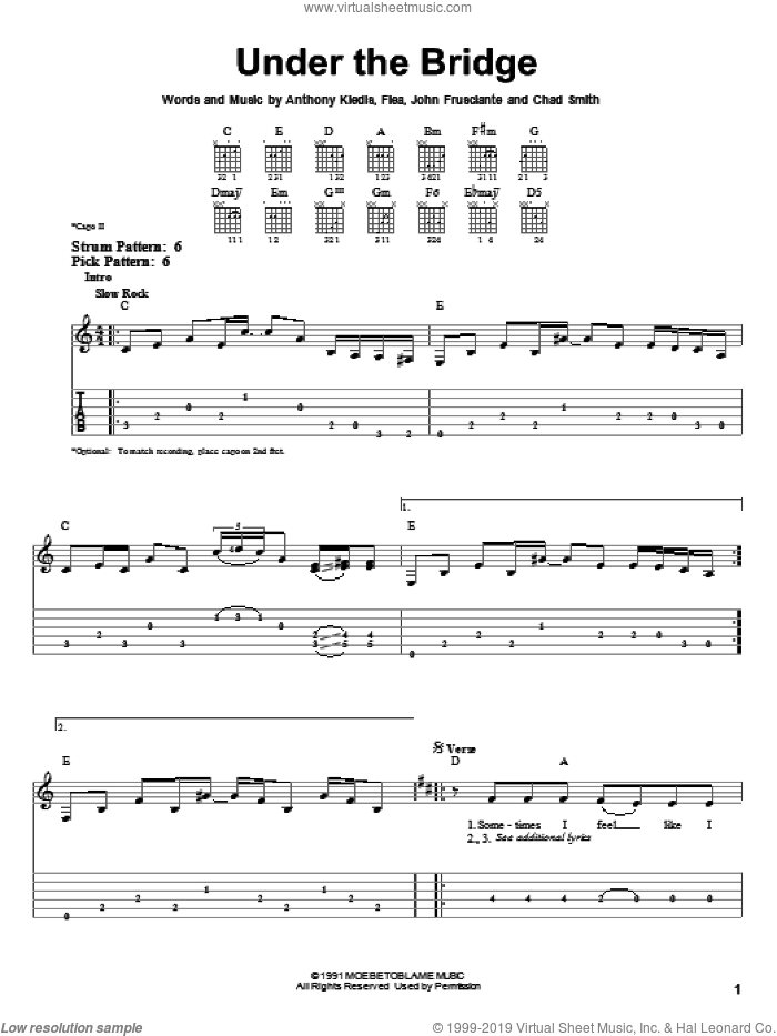 Under The Bridge sheet music for guitar solo (easy tablature) by Red Hot Chili Peppers, Anthony Kiedis, Chad Smith, Flea and John Frusciante, easy guitar (easy tablature)