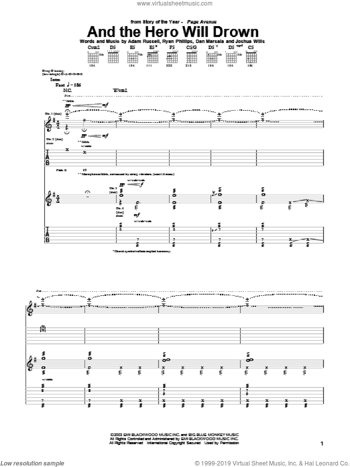 And The Hero Will Drown sheet music for guitar (tablature) by Story Of The Year, Adam Russell, Dan Marsala and Ryan Phillips, intermediate. Score Image Preview.