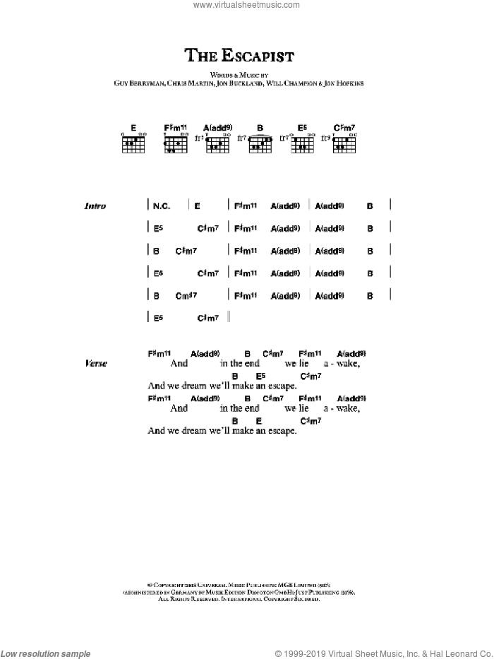 The Escapist sheet music for guitar (chords) by Coldplay, Chris Martin, Guy Berryman, Jon Buckland, Jon Hopkins and Will Champion, intermediate skill level