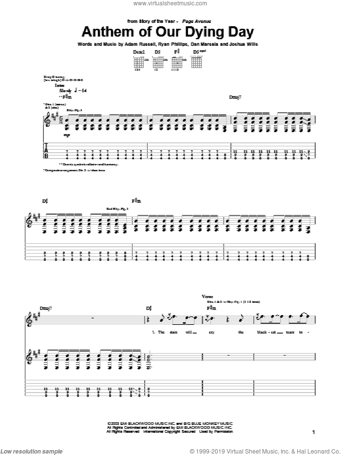Anthem Of Our Dying Day sheet music for guitar (tablature) by Ryan Phillips. Score Image Preview.