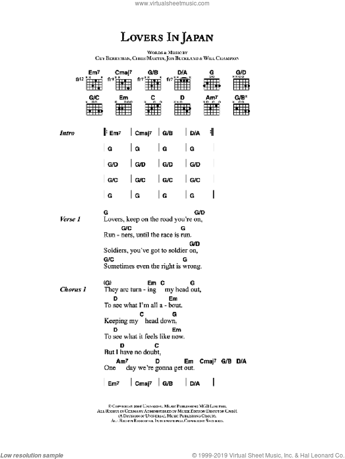 Lovers In Japan sheet music for guitar (chords) by Coldplay, Chris Martin, Guy Berryman, Jon Buckland and Will Champion, intermediate skill level