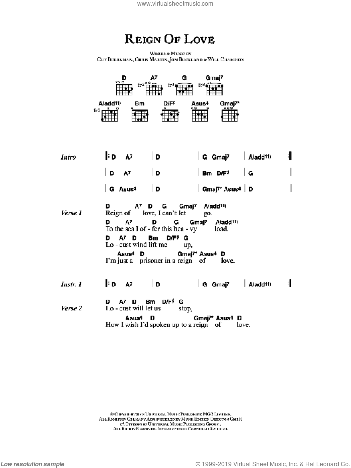 Reign Of Love sheet music for guitar (chords) by Coldplay, Chris Martin, Guy Berryman, Jon Buckland and Will Champion, intermediate skill level