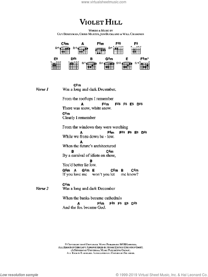 Violet Hill sheet music for guitar (chords) by Coldplay, Chris Martin, Guy Berryman, Jon Buckland and Will Champion, intermediate skill level