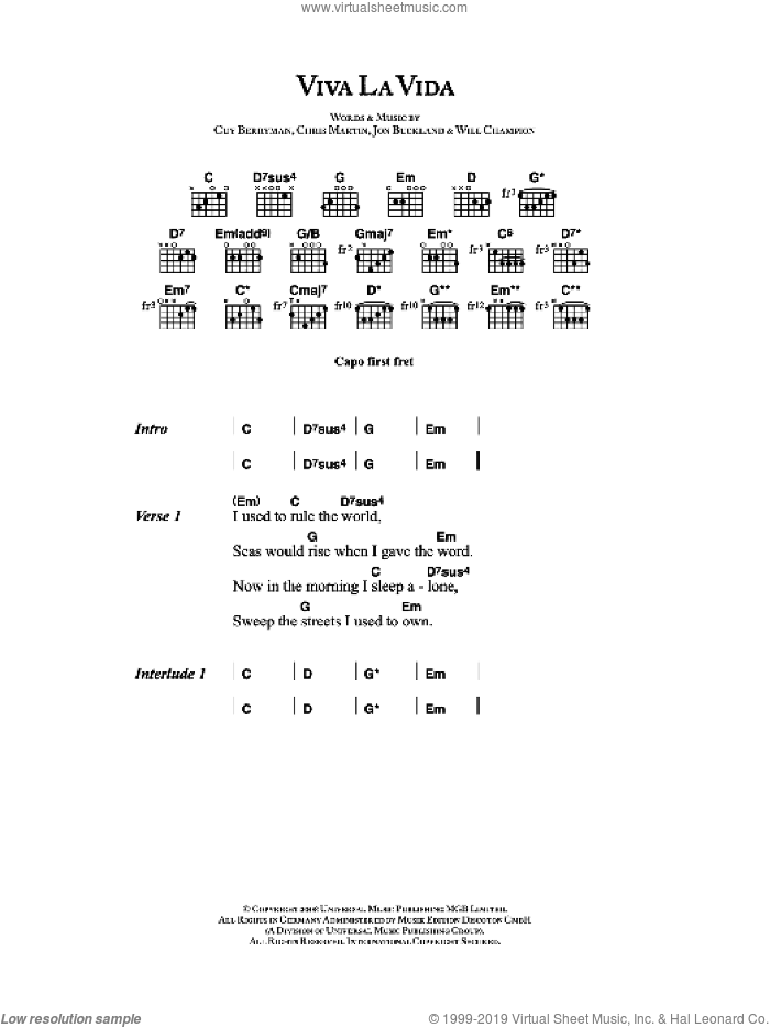 Viva La Vida sheet music for guitar (chords) by Chris Martin