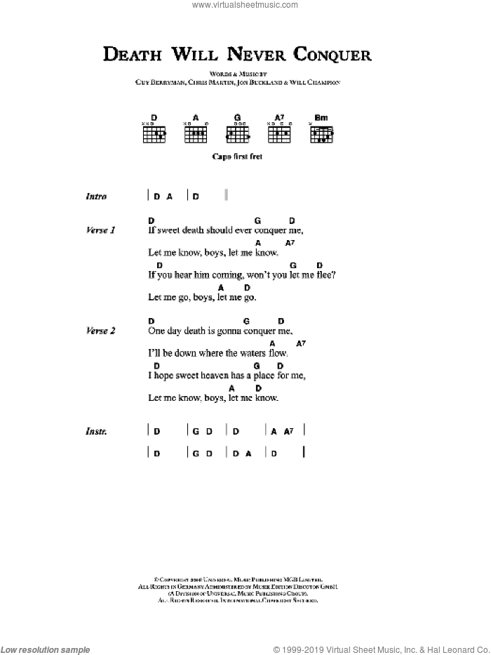 Death Will Never Conquer sheet music for guitar (chords) by Chris Martin, Coldplay, Guy Berryman, Jon Buckland and Will Champion. Score Image Preview.