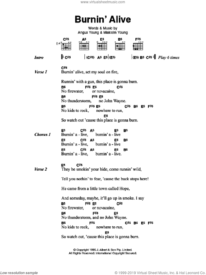 Burnin' Alive sheet music for guitar (chords) by Angus Young