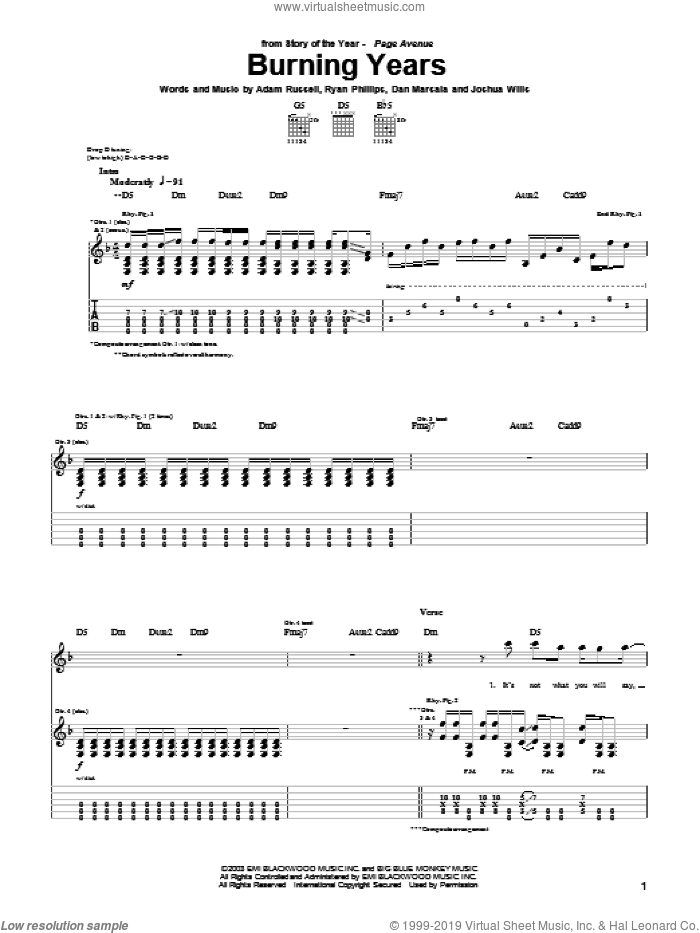 Burning Years sheet music for guitar (tablature) by Story Of The Year, Adam Russell, Dan Marsala and Ryan Phillips, intermediate