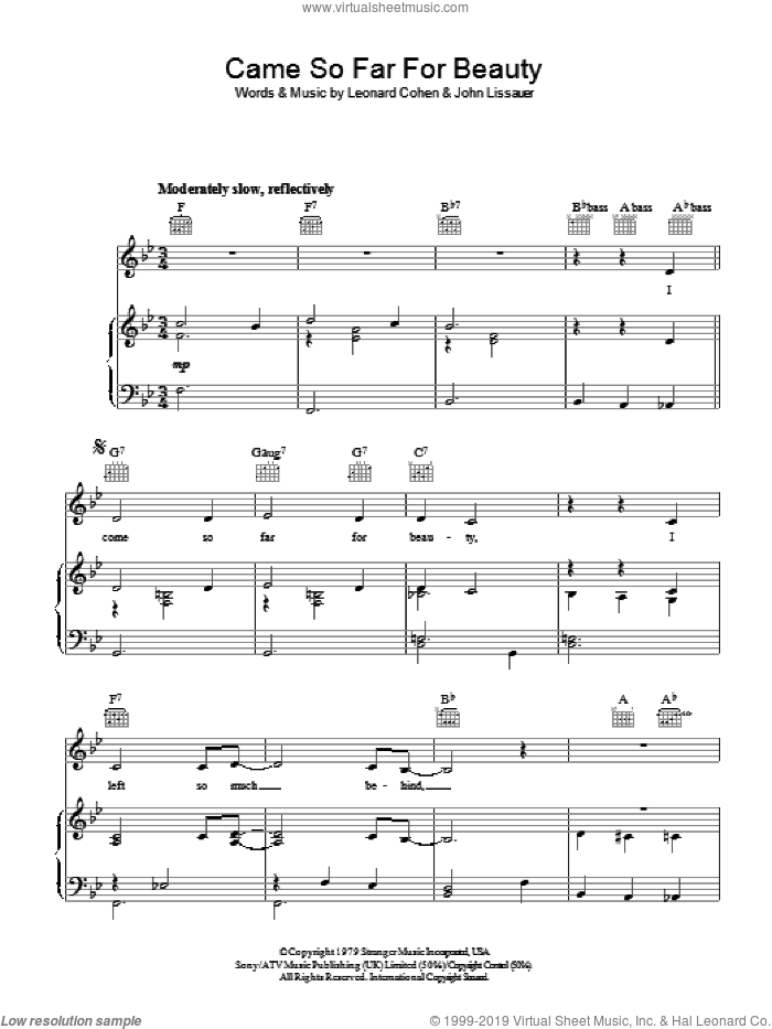 Came So Far For Beauty sheet music for voice, piano or guitar by John Lissauer and Leonard Cohen. Score Image Preview.