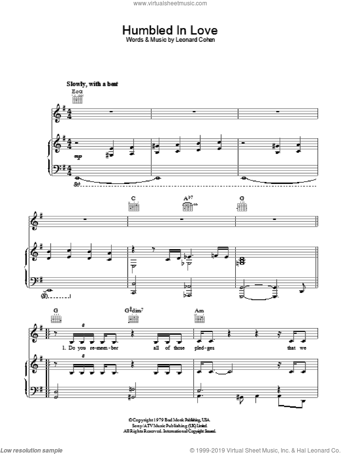 Humbled In Love sheet music for voice, piano or guitar by Leonard Cohen. Score Image Preview.