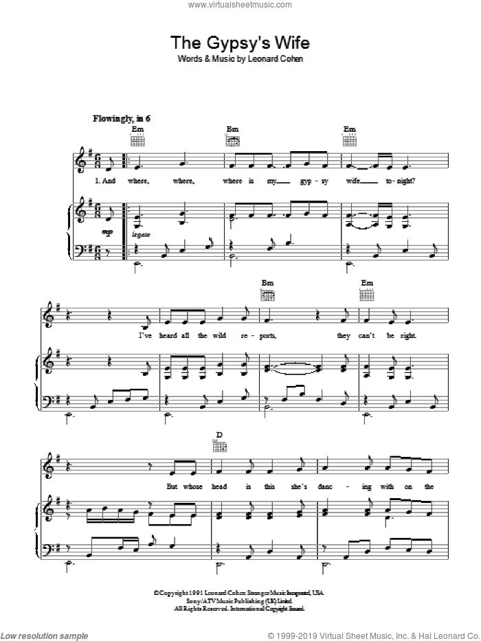 The Gypsy's Wife sheet music for voice, piano or guitar by Leonard Cohen. Score Image Preview.