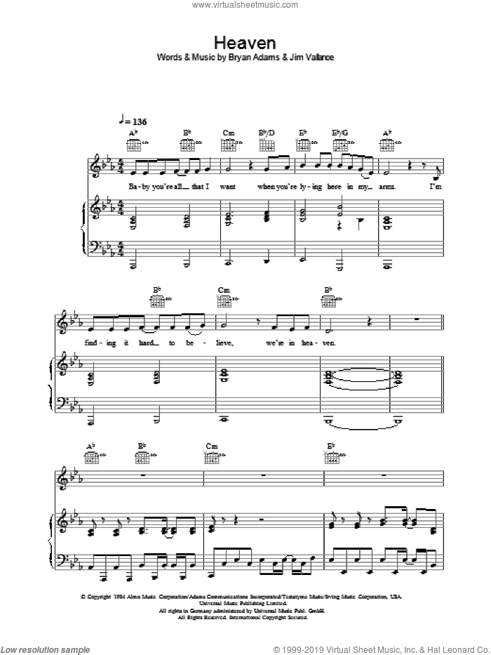 Heaven sheet music for piano solo (chords) by Bryan Adams