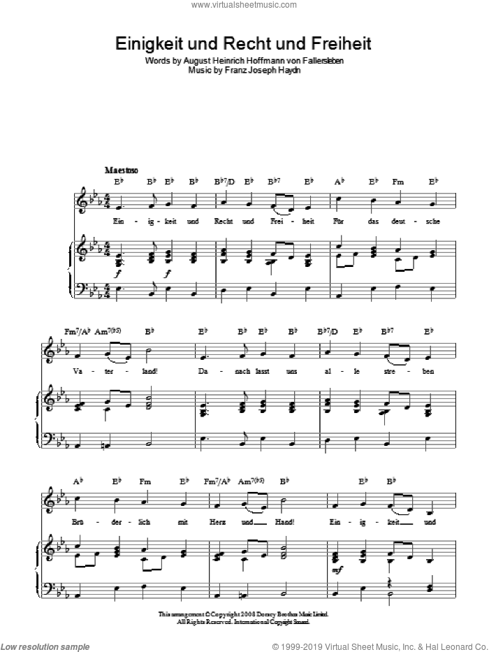 Einigkeit Und Recht Und Freiheit (German National Anthem) sheet music for voice, piano or guitar by August Heinrich Hoffmann von Fallersleben