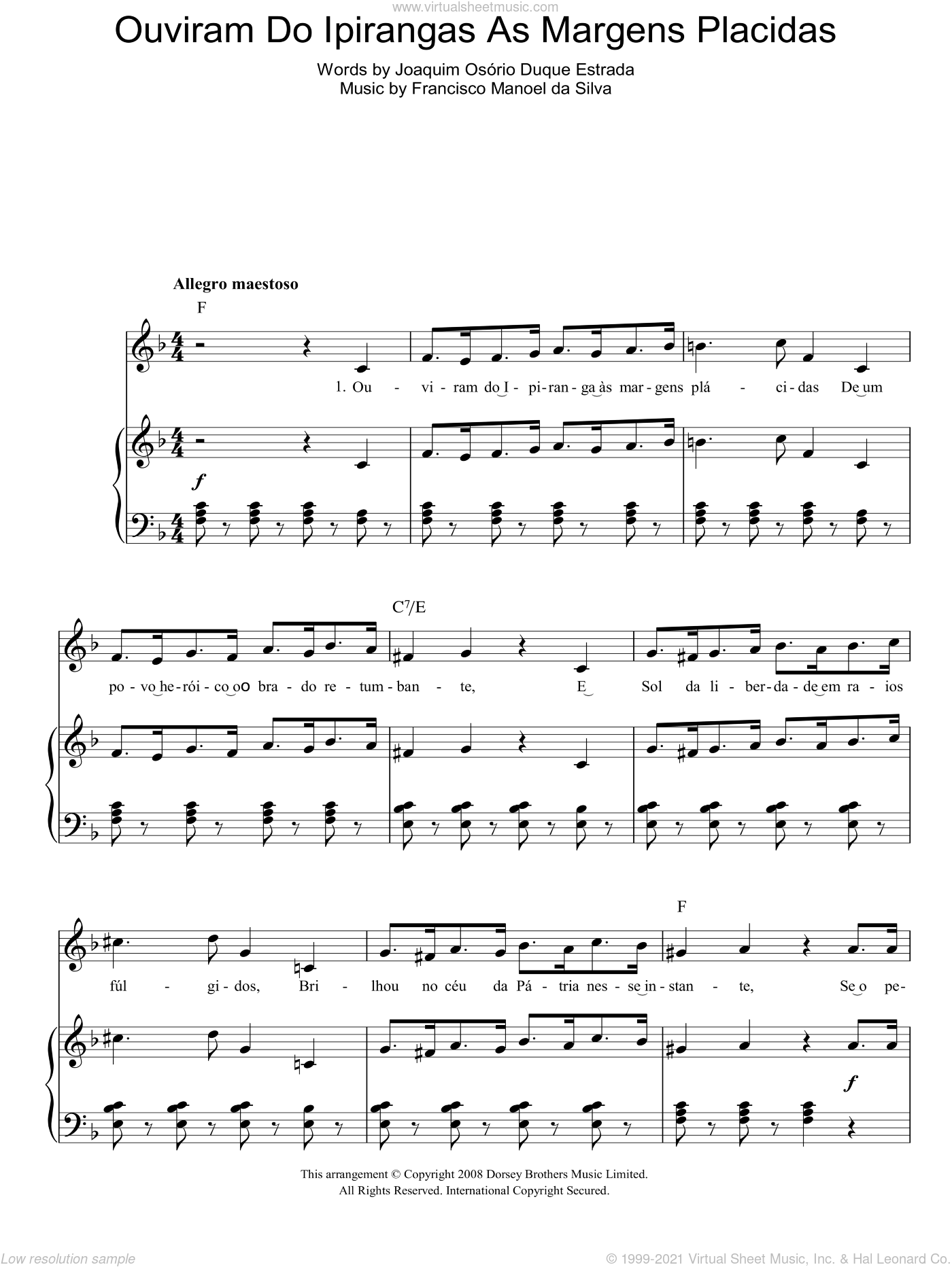 Ouviram Do Ipirangas As Margens Placidas (Brazilian National Anthem) sheet music for voice, piano or guitar by Joaquim Osorio Duque Estrada. Score Image Preview.