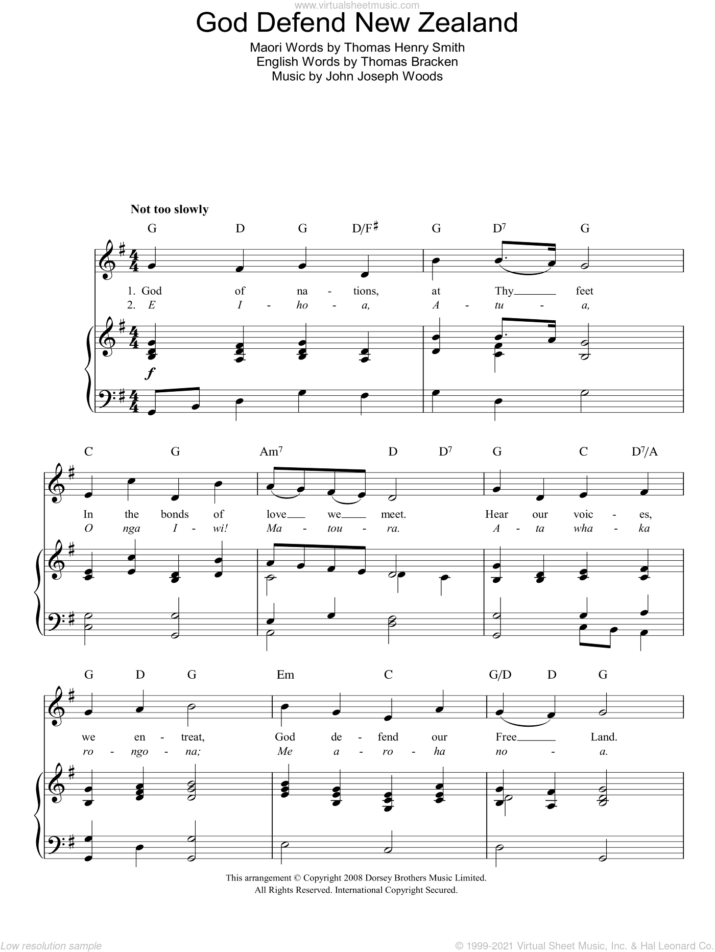 God Defend New Zealand (New Zealand National Anthem) sheet music for voice, piano or guitar by John Joseph Woods. Score Image Preview.