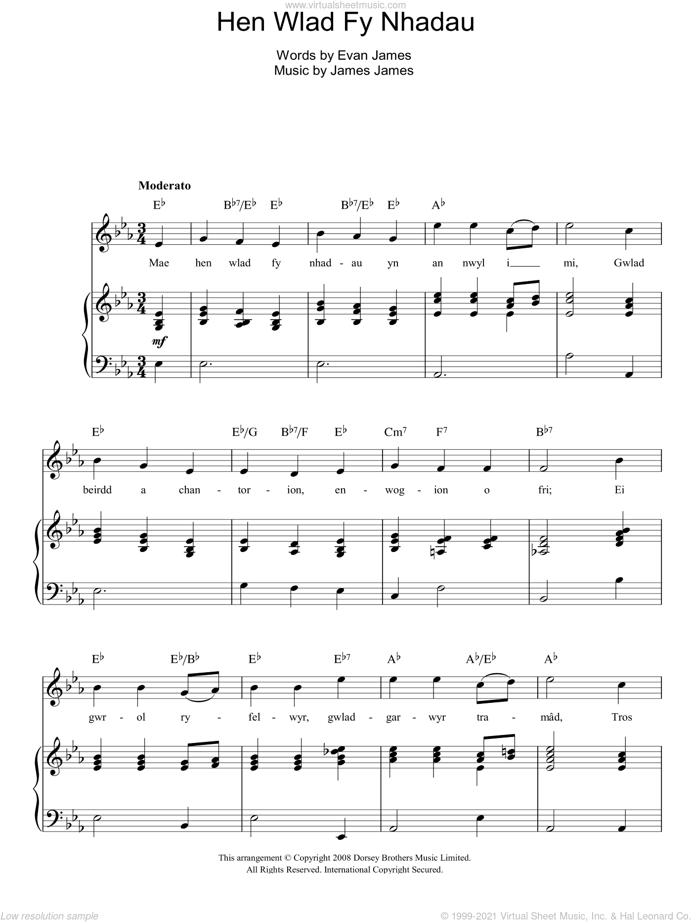 Hen Wlad Fy Nhadau (Unofficial Welsh National Anthem) sheet music for voice, piano or guitar by Evan James and James James, intermediate