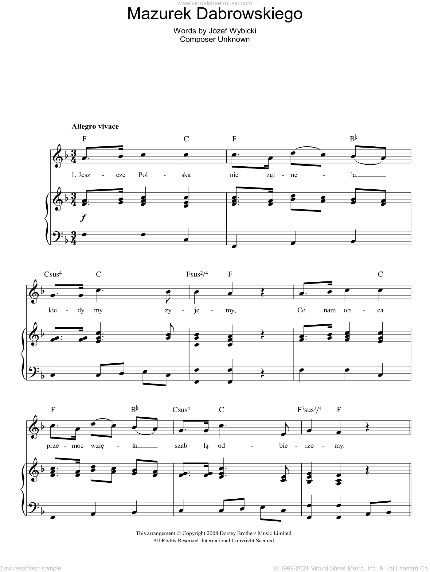 Mazurek Dabrowskiego (Polish National Anthem) sheet music for voice, piano or guitar by Jozef Wybicki. Score Image Preview.
