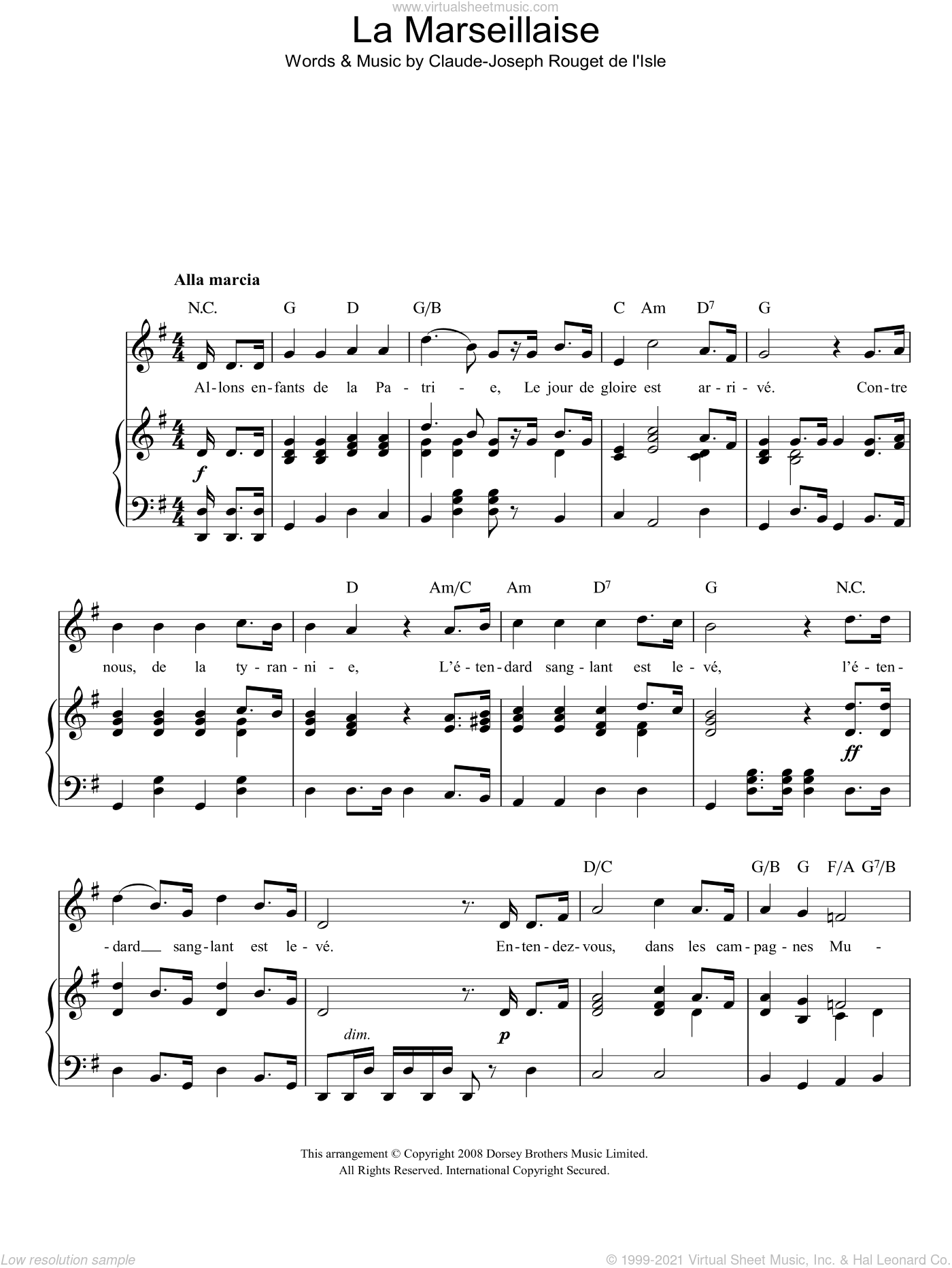 La Marseillaise (French National Anthem) sheet music for voice, piano or guitar by Claude Rouget de Lisle, classical score, intermediate. Score Image Preview.