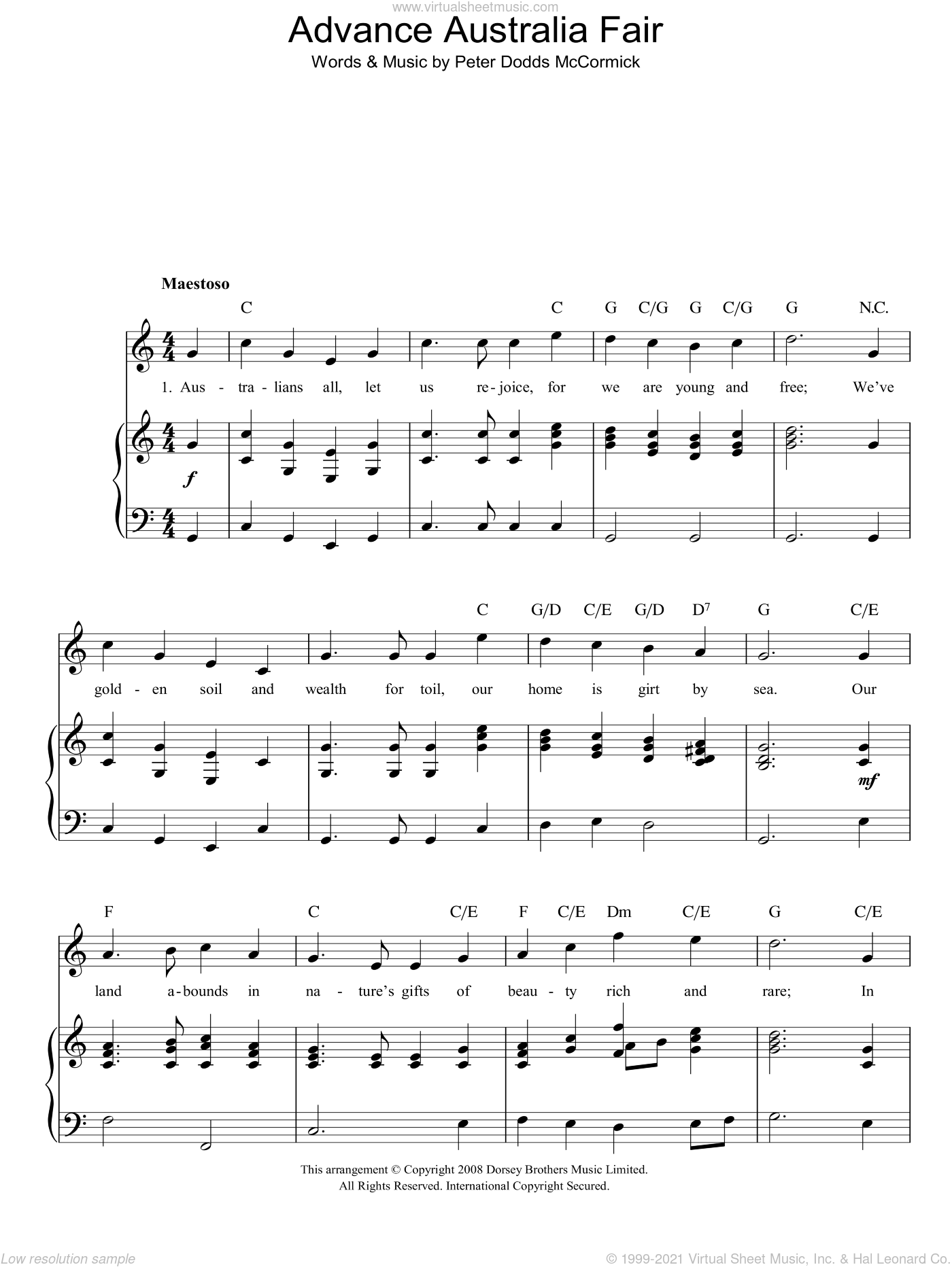 Advance Australia Fair (Australian National Anthem) sheet music for voice, piano or guitar by Peter Dodds McCormick