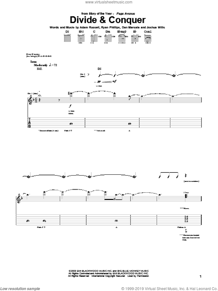 Divide and Conquer sheet music for guitar (tablature) by Ryan Phillips