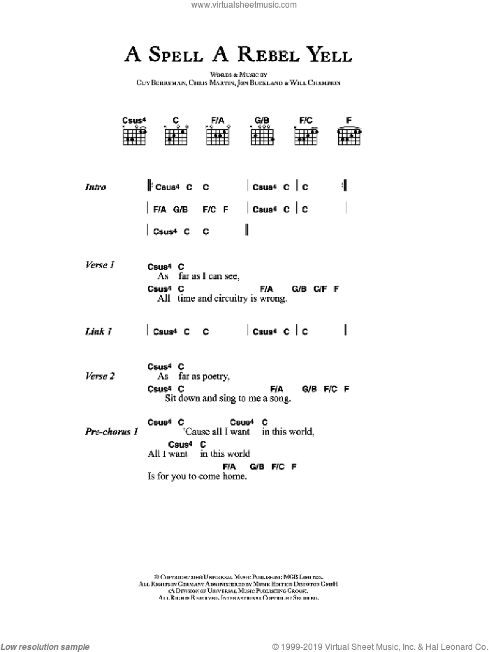 A Spell A Rebel Yell sheet music for guitar (chords) by Chris Martin