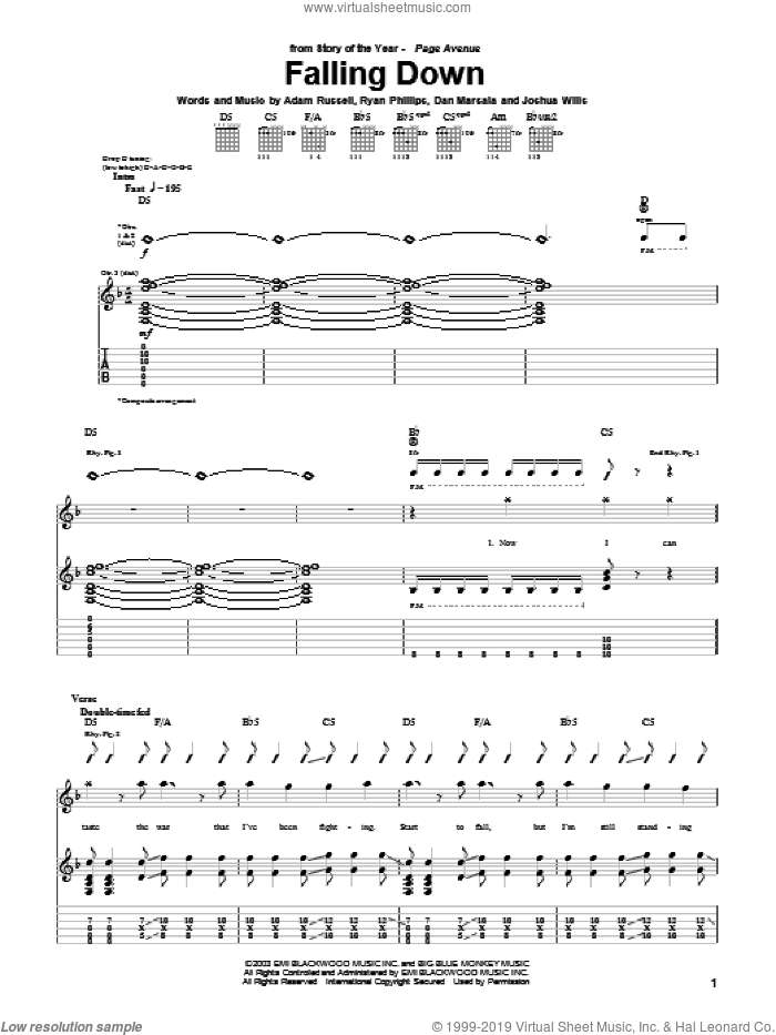 Falling Down sheet music for guitar (tablature) by Story Of The Year, intermediate. Score Image Preview.